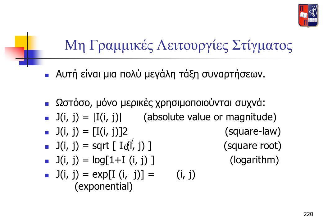 220 Μη Γραμμικές Λειτουργίες Στίγματος  Αυτή είναι μια πολύ μεγάλη τάξη συναρτήσεων.  Ωστόσο, μόνο μερικές χρησιμοποιούνται συχνά:  J(i, j) = |I(i,
