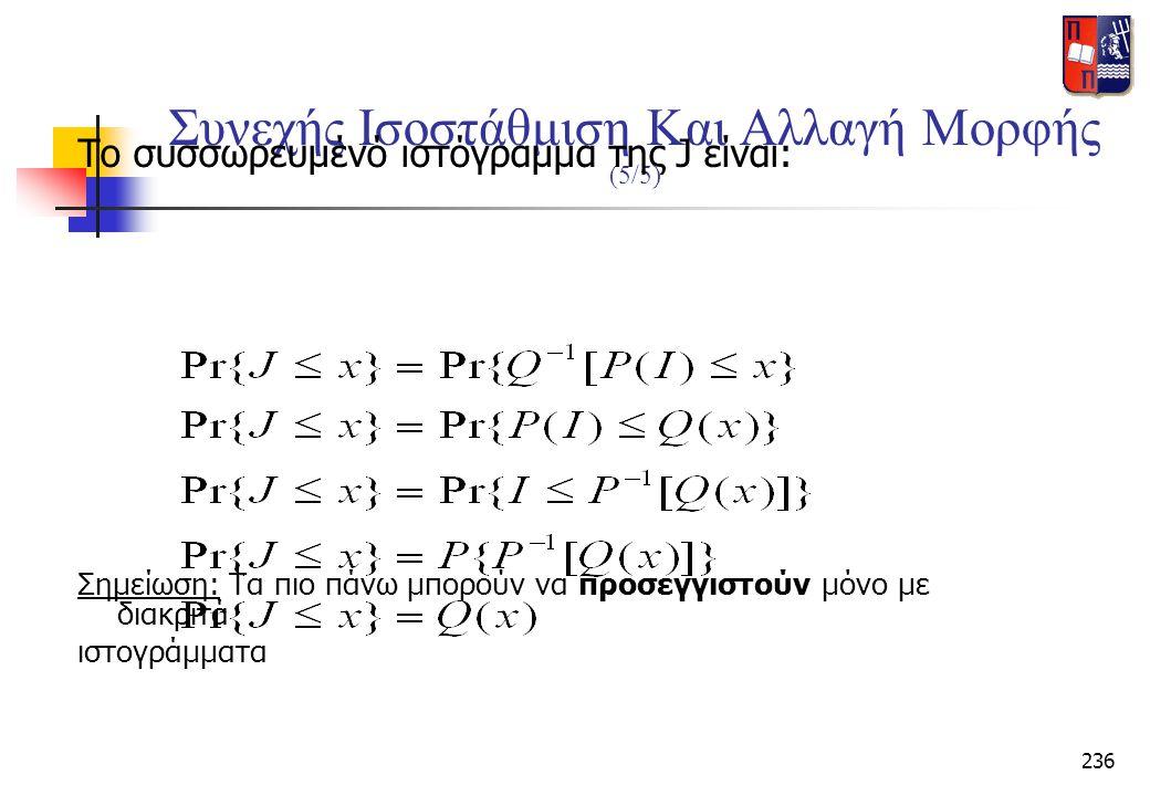 236 Συνεχής Ισοστάθμιση Και Αλλαγή Μορφής (5/5) Το συσσωρευμένό ιστόγραμμα της J είναι: Σημείωση: Τα πιο πάνω μπορούν να προσεγγιστούν μόνο με διακριτ