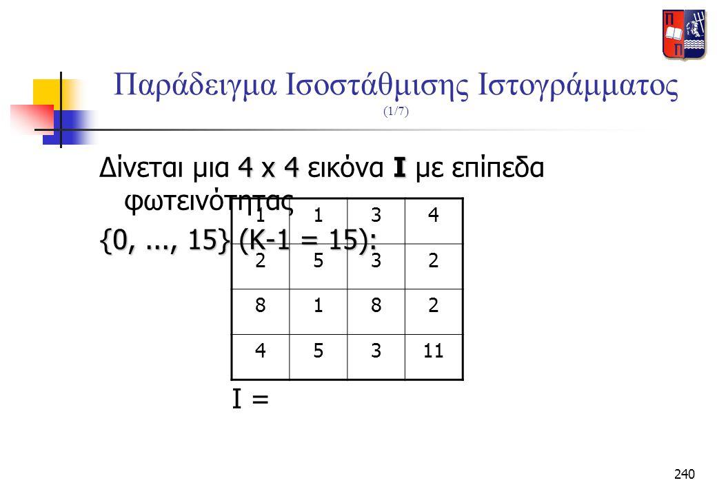 240 Παράδειγμα Ισοστάθμισης Ιστογράμματος (1/7) 4 x 4Ι Δίνεται μια 4 x 4 εικόνα Ι με επίπεδα φωτεινότητας {0,..., 15} (K-1 = 15): I = 1134 2532 8182 4