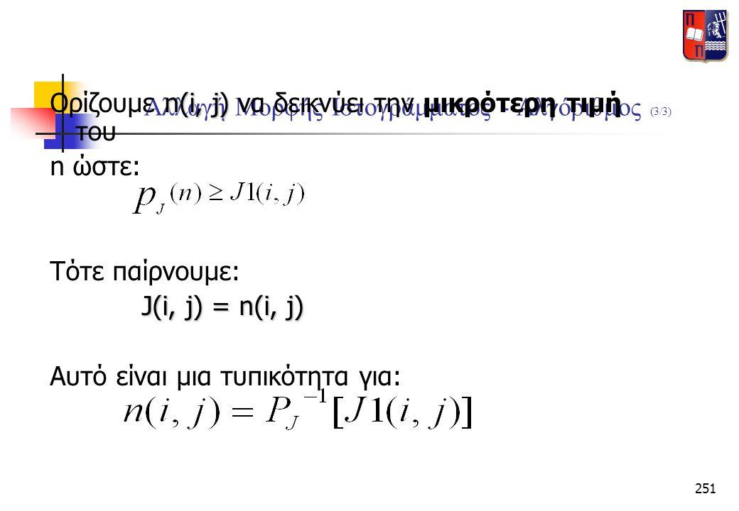 251 Αλλαγή Μορφής Ιστογράμματος - Αλγόριθμος (3/3) n(i, j) Ορίζουμε n(i, j) να δεικνύει την μικρότερη τιμή του n ώστε: Τότε παίρνουμε: J(i, j) = n(i,