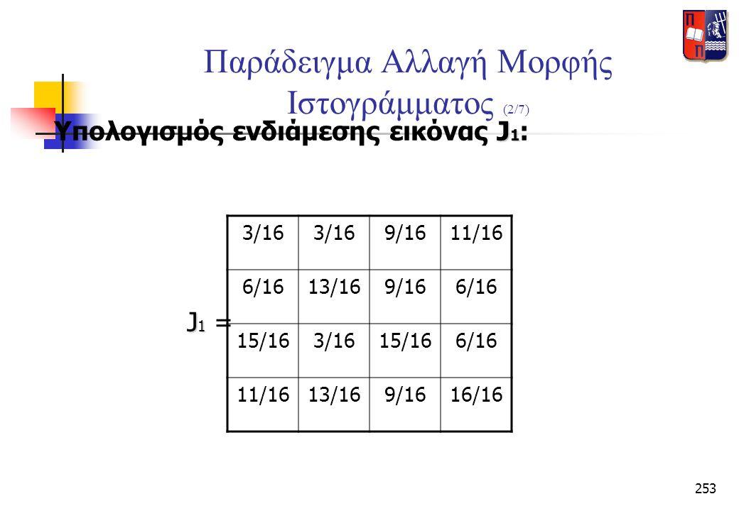 253 Παράδειγμα Αλλαγή Μορφής Ιστογράμματος (2/7) J 1 Υπολογισμός ενδιάμεσης εικόνας J 1 : J 1 J 1 = 3/16 9/1611/16 6/1613/169/166/16 15/163/1615/166/1