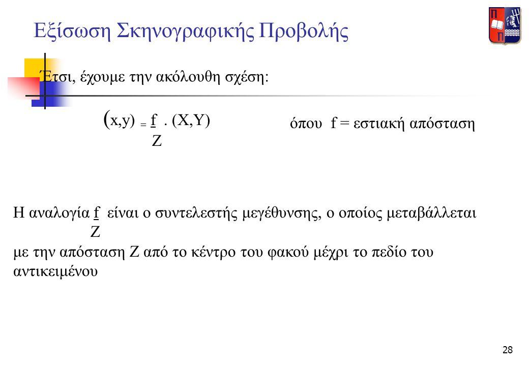 28 Εξίσωση Σκηνογραφικής Προβολής Έτσι, έχουμε την ακόλουθη σχέση: ( x,y) = f. (X,Y) Z όπου f = εστιακή απόσταση Η αναλογία f είναι ο συντελεστής μεγέ