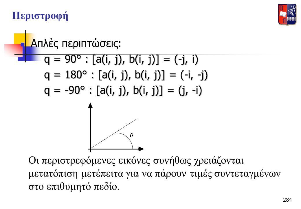 284  Απλές περιπτώσεις: q = 90° : [a(i, j), b(i, j)] = (-j, i) q = 180° : [a(i, j), b(i, j)] = (-i, -j) q = 180° : [a(i, j), b(i, j)] = (-i, -j) q =
