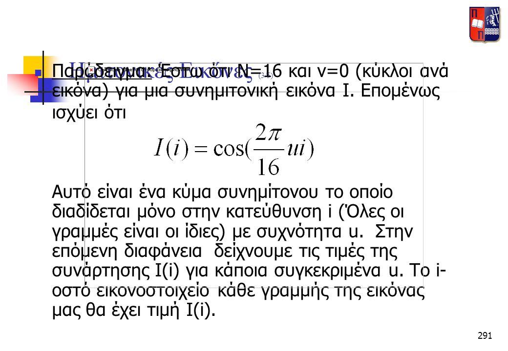 291 Ημιτονικές Εικόνες (3/5)  Παράδειγμα: Έστω ότι Ν=16 και v=0 (κύκλοι ανά εικόνα) για μια συνημιτονική εικόνα Ι. Επομένως ισχύει ότι Αυτό είναι ένα