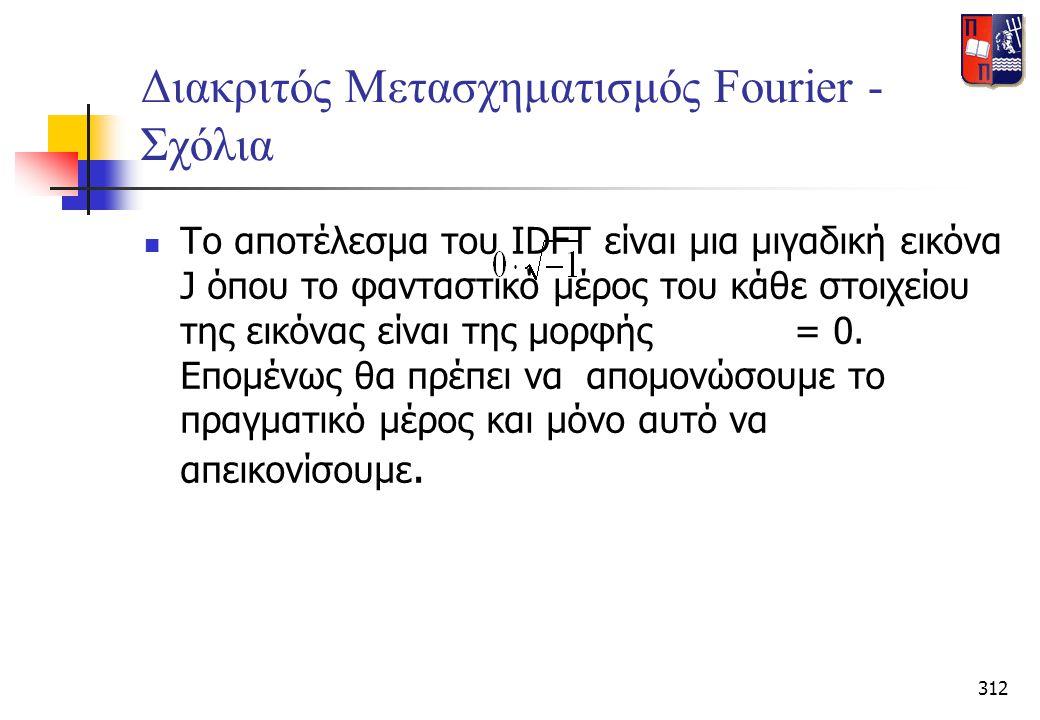 312 Διακριτός Μετασχηματισμός Fourier - Σχόλια  Το αποτέλεσμα του IDFT είναι μια μιγαδική εικόνα J όπου το φανταστικό μέρος του κάθε στοιχείου της ει