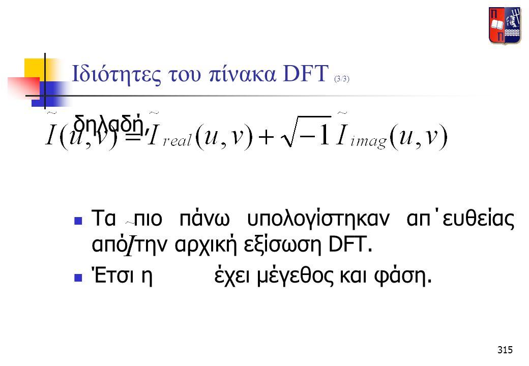315 Ιδιότητες του πίνακα DFT (3/3) δηλαδή,  Τα πιο πάνω υπολογίστηκαν απ΄ευθείας από την αρχική εξίσωση DFT.  Έτσι η έχει μέγεθος και φάση.