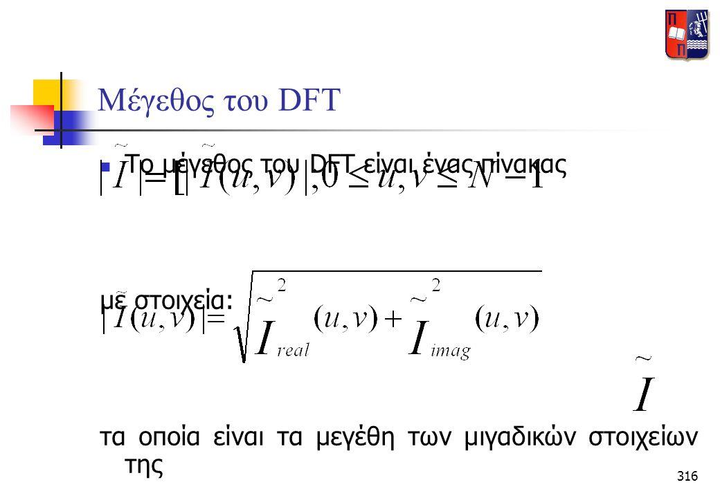 316 Μέγεθος του DFT  Το μέγεθος του DFT είναι ένας πίνακας με στοιχεία: τα οποία είναι τα μεγέθη των μιγαδικών στοιχείων της