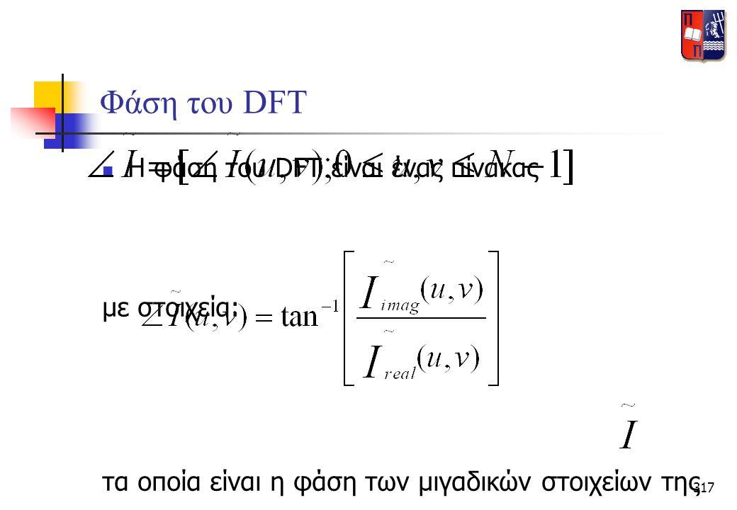 317 Φάση του DFT  Η φάση του DFT είναι ένας πίνακας με στοιχεία: τα οποία είναι η φάση των μιγαδικών στοιχείων της