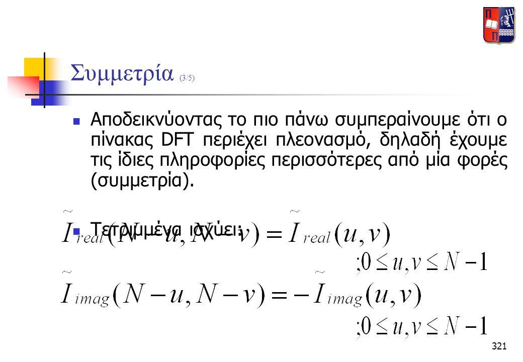 321 Συμμετρία (3/5)  Αποδεικνύοντας το πιο πάνω συμπεραίνουμε ότι ο πίνακας DFT περιέχει πλεονασμό, δηλαδή έχουμε τις ίδιες πληροφορίες περισσότερες