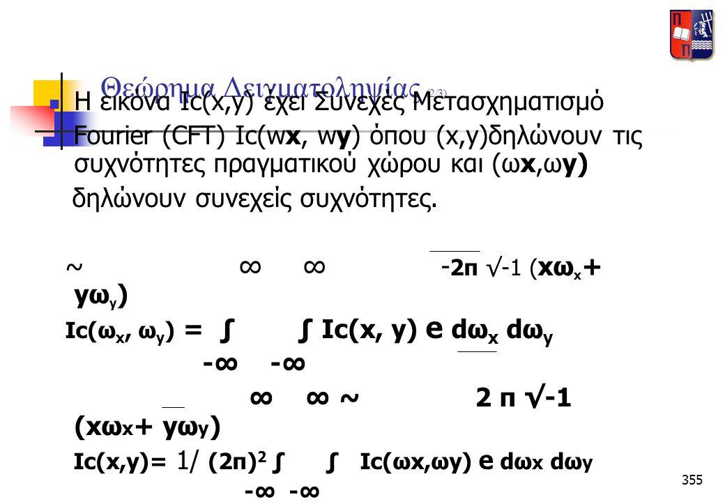 355 Θεώρημα Δειγματοληψίας (2/3)  Η εικόνα Ιc(x,y) έχει Συνεχές Μετασχηματισμό Fourier (CFT) Ιc(wx, wy) όπου (x,y)δηλώνουν τις συχνότητες πραγματικού