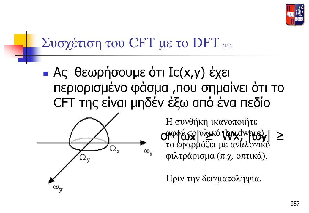 357 Συσχέτιση του CFT με το DFT (1/5)  Ας θεωρήσουμε ότι Ιc(x,y) έχει περιορισμένο φάσμα,που σημαίνει ότι το CFT της είναι μηδέν έξω από ένα πεδίο συ