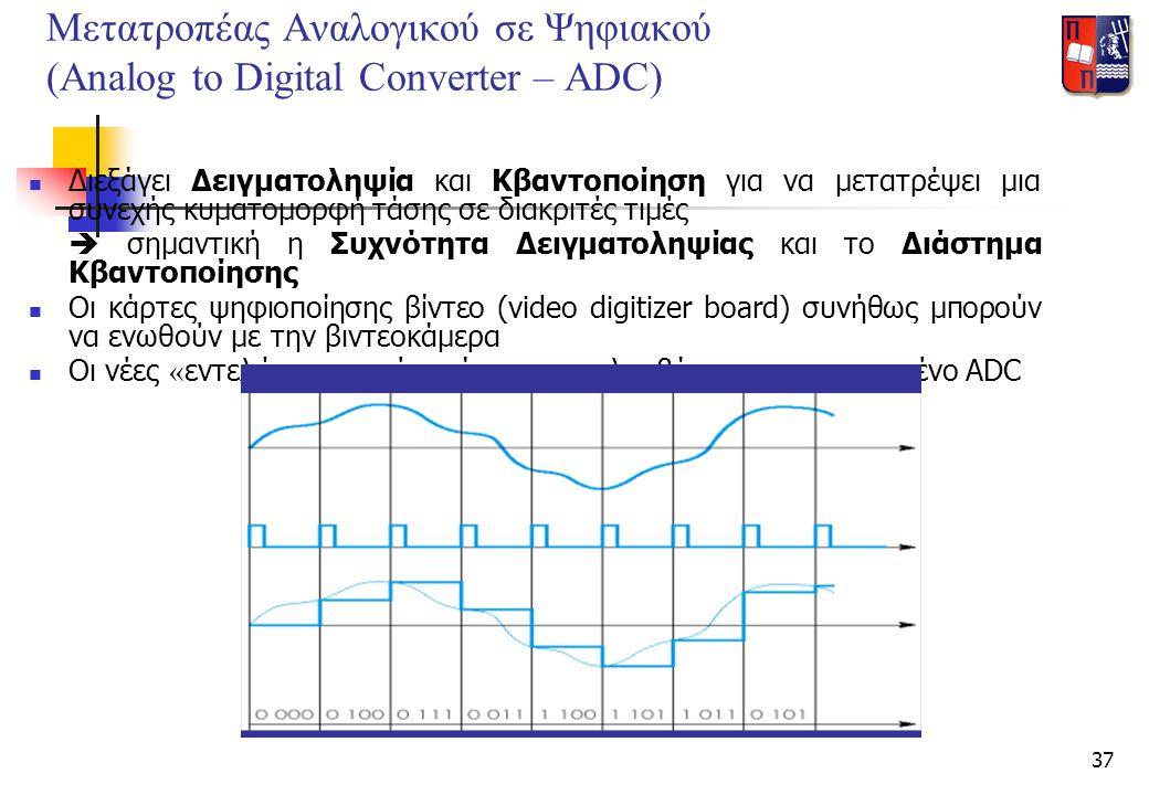 37 Μετατροπέας Αναλογικού σε Ψηφιακού (Analog to Digital Converter – ADC)  Διεξάγει Δειγματοληψία και Κβαντοποίηση για να μετατρέψει μια συνεχής κυμα