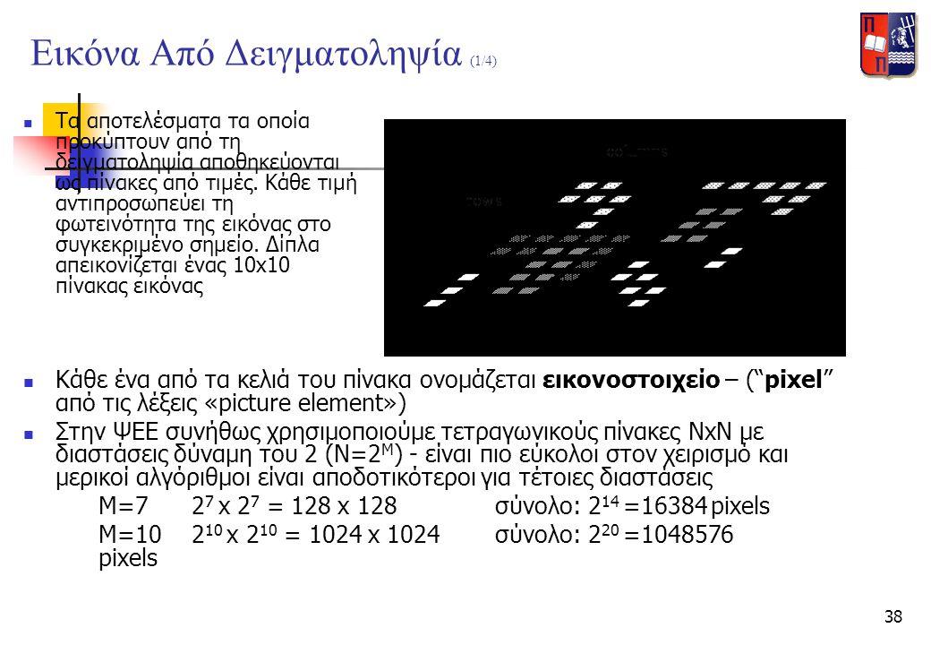 38 Εικόνα Από Δειγματοληψία (1/4)  Τα αποτελέσματα τα οποία προκύπτουν από τη δειγματοληψία αποθηκεύονται ως πίνακες από τιμές. Κάθε τιμή αντιπροσωπε
