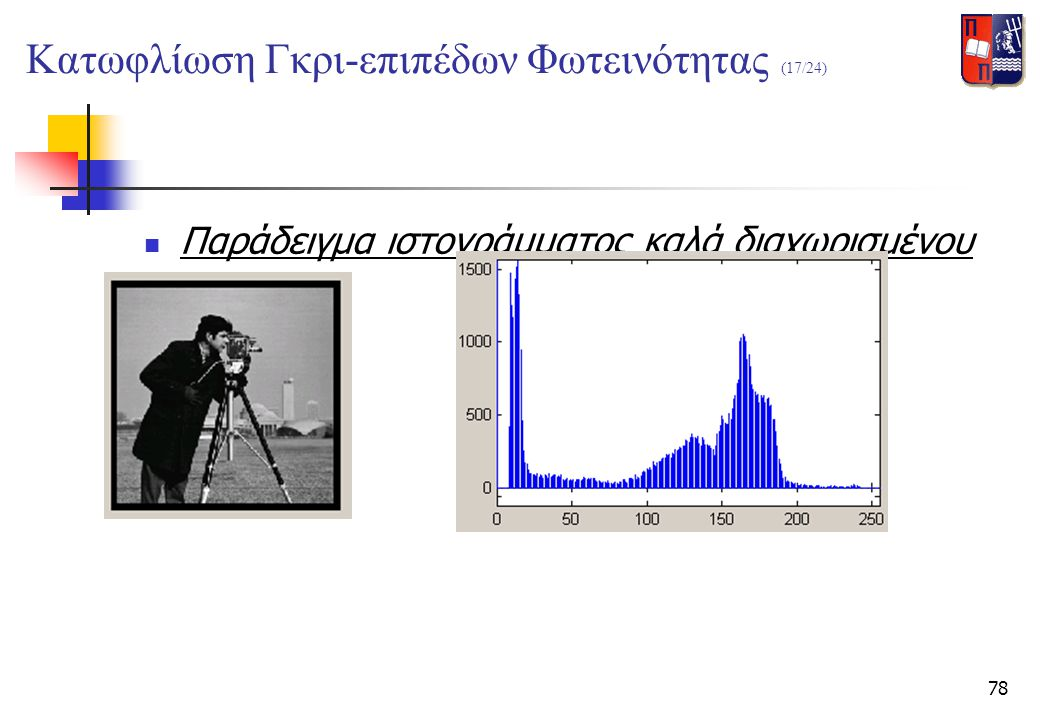 78  Παράδειγμα ιστογράμματος καλά διαχωρισμένου Κατωφλίωση Γκρι-επιπέδων Φωτεινότητας (17/24)
