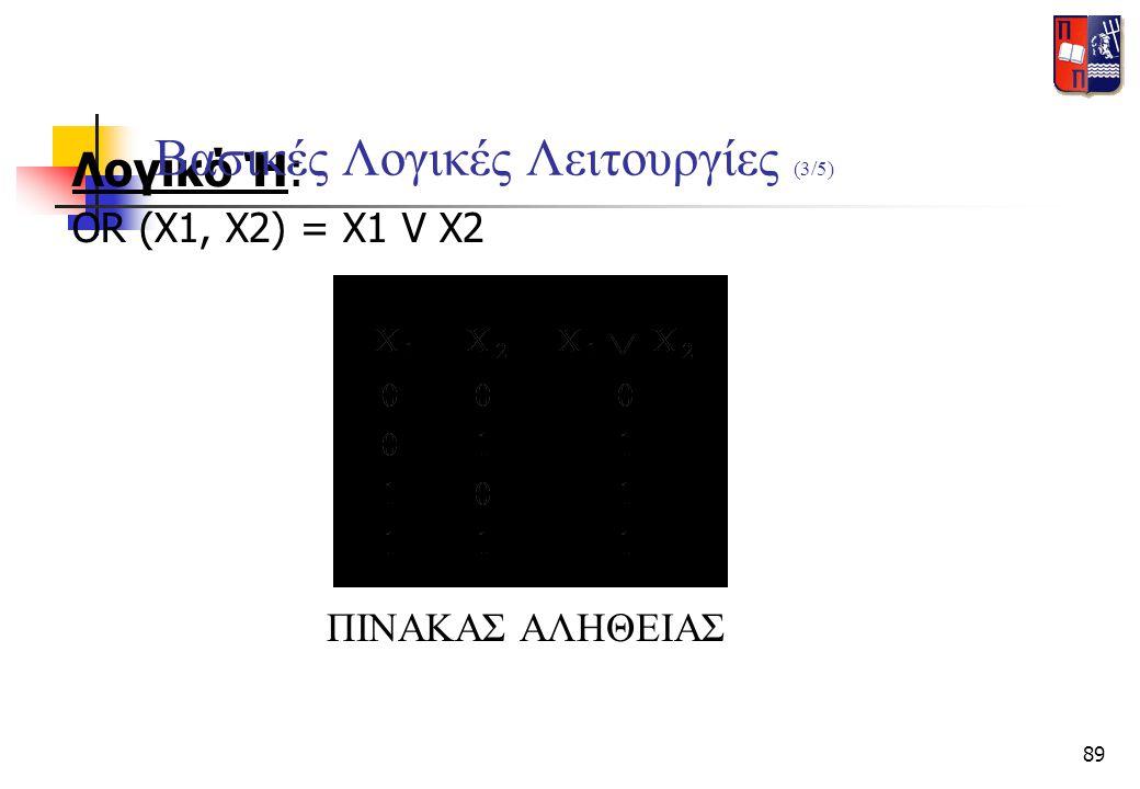 89 Λογικό Ή: OR (X1, X2) = X1 V X2 ΠΙΝΑΚΑΣ ΑΛΗΘΕΙΑΣ Βασικές Λογικές Λειτουργίες (3/5)