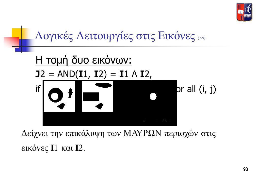 93 Λογικές Λειτουργίες στις Εικόνες (2/9) Η τομή δυο εικόνων: J2 = AND(I1, I2) = I1 Λ I2, if J2(i, j) = AND[ I1(i, j), I2(i, j) ] for all (i, j) Δείχν