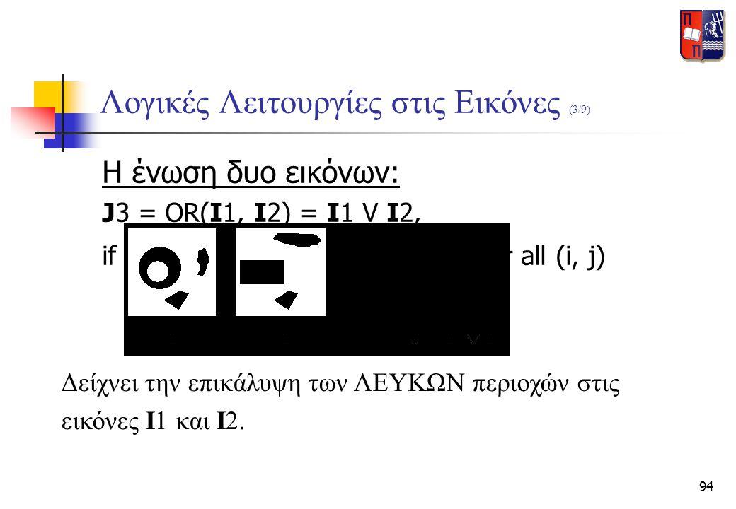 94 Λογικές Λειτουργίες στις Εικόνες (3/9) Η ένωση δυο εικόνων: J3 = OR(I1, I2) = I1 V I2, if J3(i, j) = OR[ I1(i, j), I2(i, j) ] for all (i, j) Δείχνε