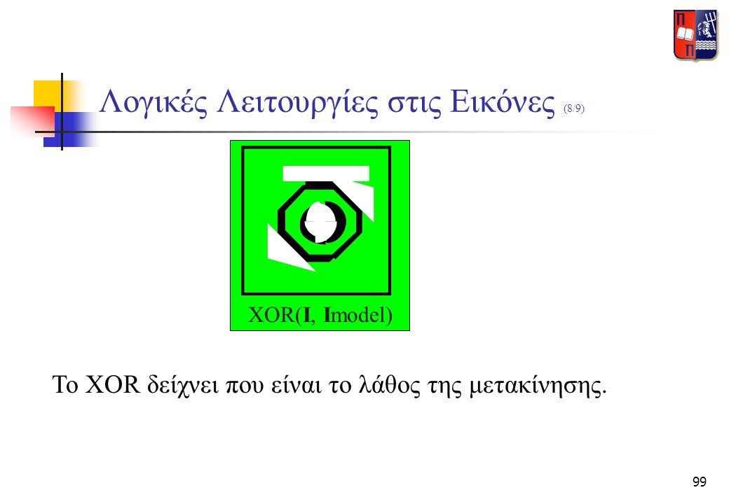 99 Λογικές Λειτουργίες στις Εικόνες (8/9) XOR(I, Imodel) Το XOR δείχνει που είναι το λάθος της μετακίνησης.