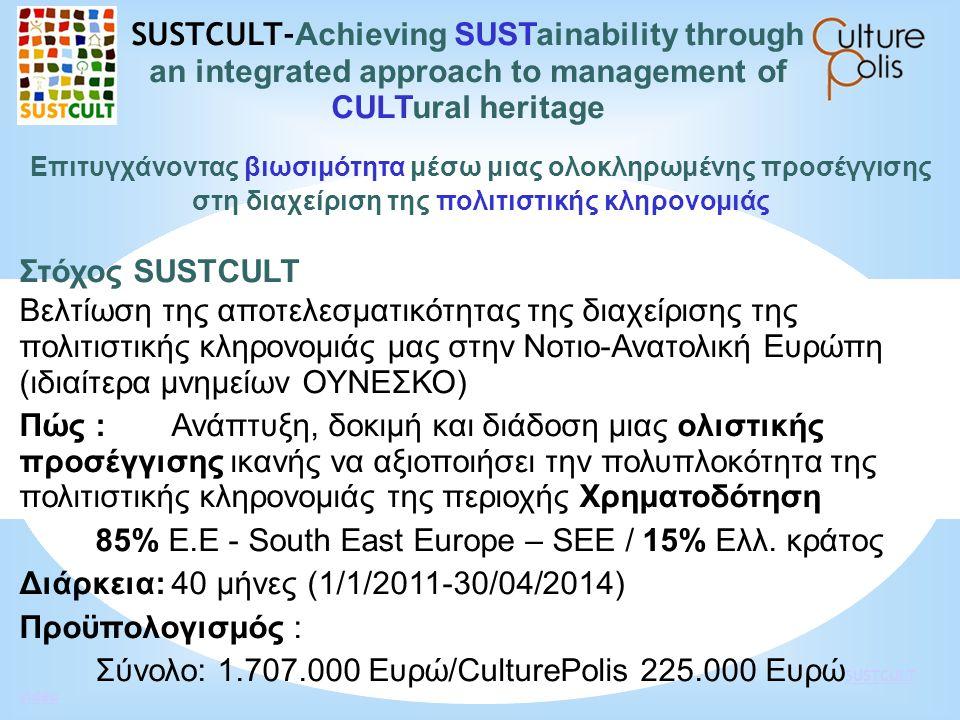 Επιτυγχάνοντας βιωσιμότητα μέσω μιας ολοκληρωμένης προσέγγισης στη διαχείριση της πολιτιστικής κληρονομιάς Στόχος SUSTCULT Βελτίωση της αποτελεσματικό