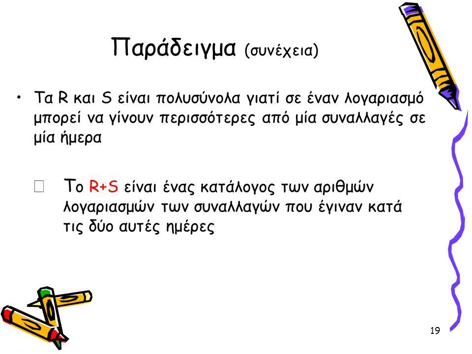 Παράδειγμα (συνέχεια) •Τα R και S είναι πολυσύνολα γιατί σε έναν λογαριασμό μπορεί να γίνουν περισσότερες από μία συναλλαγές σε μία ήμερα  Τ ο R+S εί