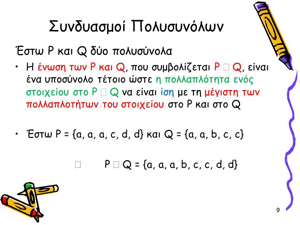Συνδυασμοί Πολυσυνόλων (συνέχεια) •Η τομή των P και Q, που συμβολίζεται P  Q, είναι ένα υποσύνολο τέτοιο ώστε η πολλαπλότητα ενός στοιχείου στο P  Q να είναι ίση με την ελάχιστη από τις πολλαπλότητες του στοιχείου στο P και στο Q •Έστω P = {a, a, a, c, d, d} και Q = {a, a, b, c, c}  P  Q = {a, a, c} 10
