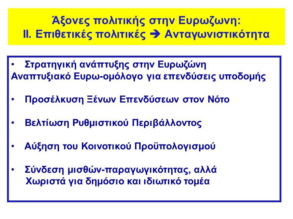 • Στρατηγική ανάπτυξης στην Ευρωζώνη Αναπτυξιακό Ευρω-ομόλογο για επενδύσεις υποδομής • Προσέλκυση Ξένων Επενδύσεων στον Νότο • Βελτίωση Ρυθμιστικού Π