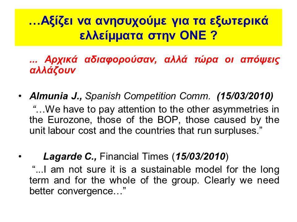 …Αξίζει να ανησυχούμε για τα εξωτερικά ελλείμματα στην ΟΝΕ ?... Αρχικά αδιαφορούσαν, αλλά τώρα οι απόψεις αλλάζουν •Almunia J., Spanish Competition Co