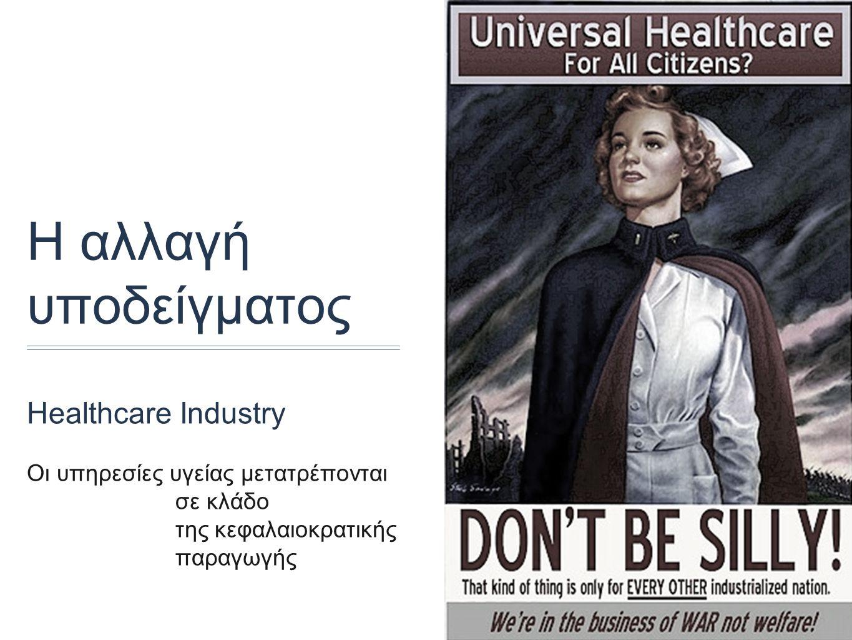Η αλλαγή υποδείγματος Healthcare Industry Οι υπηρεσίες υγείας μετατρέπονται σε κλάδο της κεφαλαιοκρατικής παραγωγής