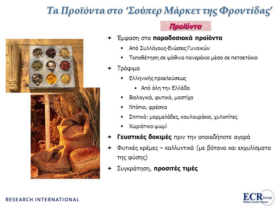 Τα Προϊόντα στο 'Σούπερ Μάρκετ της Φροντίδας'  Έμφαση στα παραδοσιακά προϊόντα  Από Συλλόγους-Ενώσεις Γυναικών  Τοποθέτηση σε ψάθινα πανεράκια μέσα σε πετσετάκια  Τρόφιμα  Ελληνικής προελεύσεως •Από όλη την Ελλάδα  Βιολογικά, φυτικά, μαστίχα  Ντόπια, φρέσκα  Σπιτικά: μαρμελάδες, κουλουράκια, χυλοπίτες  Χωριάτικο ψωμί  Γευστικές δοκιμές πριν την οποιαδήποτε αγορά  Φυτικές κρέμες – καλλυντικά (με βότανα και εκχυλίσματα της φύσης)  Συγκράτηση, προσιτές τιμές Προϊόντα