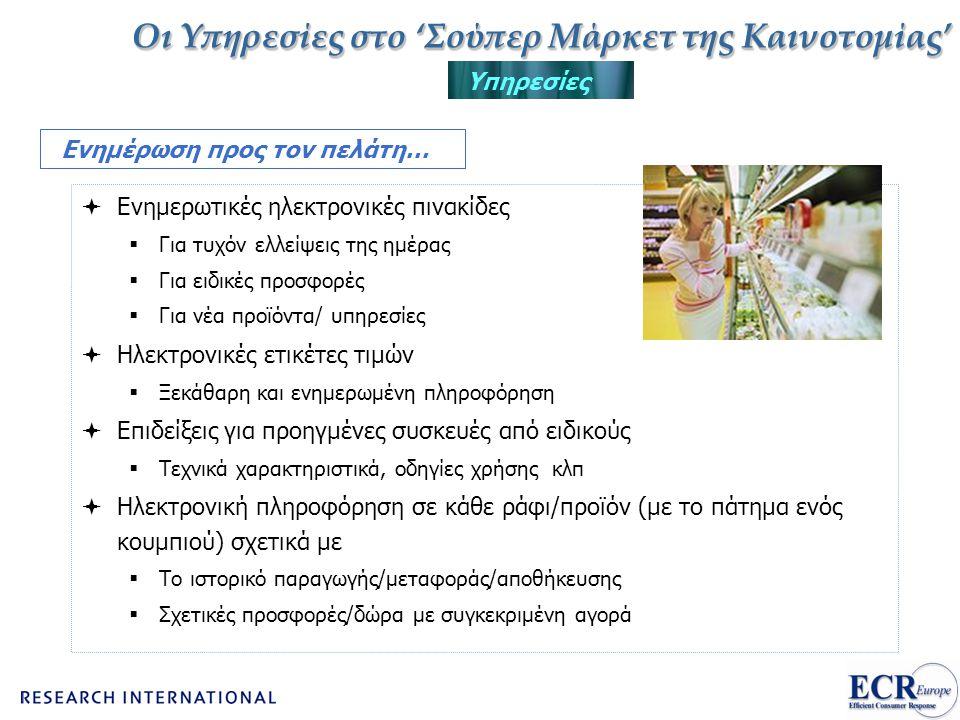 Οι Υπηρεσίες στο 'Σούπερ Μάρκετ της Καινοτομίας' Υπηρεσίες Ενημέρωση προς τον πελάτη…  Ενημερωτικές ηλεκτρονικές πινακίδες  Για τυχόν ελλείψεις της
