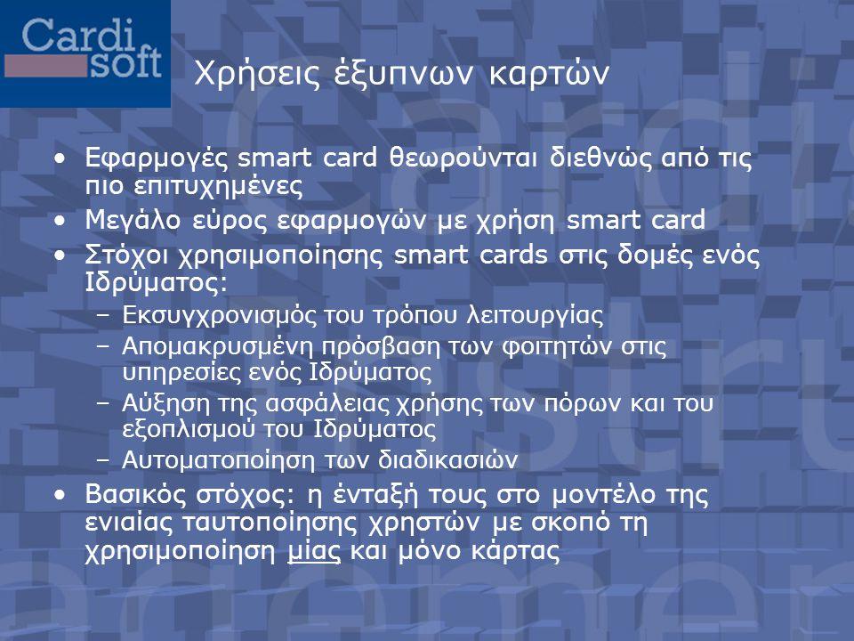 Χρήσεις έξυπνων καρτών •Εφαρμογές smart card θεωρούνται διεθνώς από τις πιο επιτυχημένες •Μεγάλο εύρος εφαρμογών με χρήση smart card •Στόχοι χρησιμοποίησης smart cards στις δομές ενός Ιδρύματος: –Εκσυγχρονισμός του τρόπου λειτουργίας –Απομακρυσμένη πρόσβαση των φοιτητών στις υπηρεσίες ενός Ιδρύματος –Αύξηση της ασφάλειας χρήσης των πόρων και του εξοπλισμού του Ιδρύματος –Αυτοματοποίηση των διαδικασιών •Βασικός στόχος: η ένταξή τους στο μοντέλο της ενιαίας ταυτοποίησης χρηστών με σκοπό τη χρησιμοποίηση μίας και μόνο κάρτας