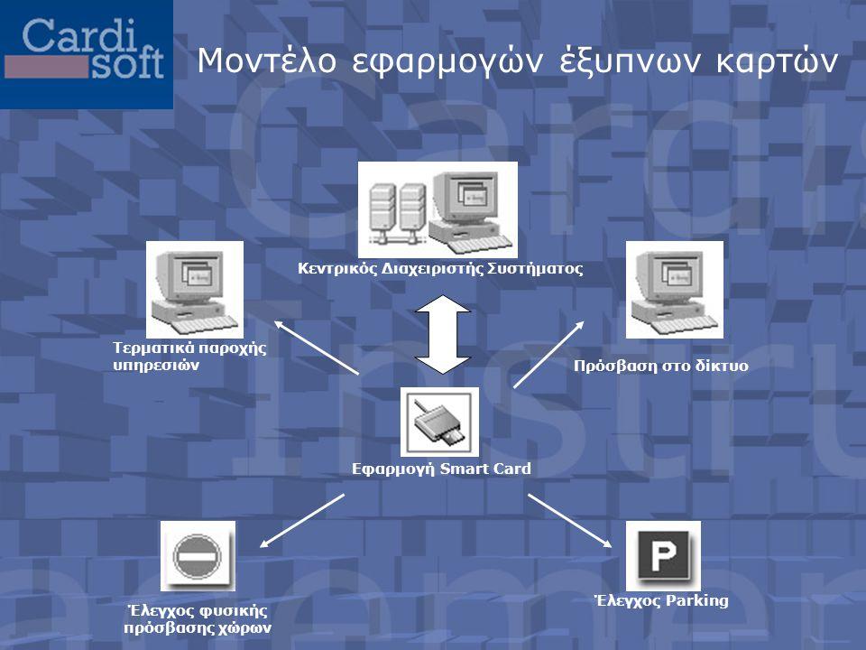Επιπρόσθετη αξιοποίηση της κάρτας •Φοιτητική εστία: για την είσοδο στους χώρους •Σύστημα ωρομέτρησης •Φωτοτυπικά μηχανήματα και fax για τον έλεγχο της χρήσης τους •Loyalty με επιχειρήσεις του Ιδιωτικού Τομέα (εκπτωτικές κάρτες) •Credit Card σε συνεργασία με Τράπεζα •Αντικατάσταση των πάσο