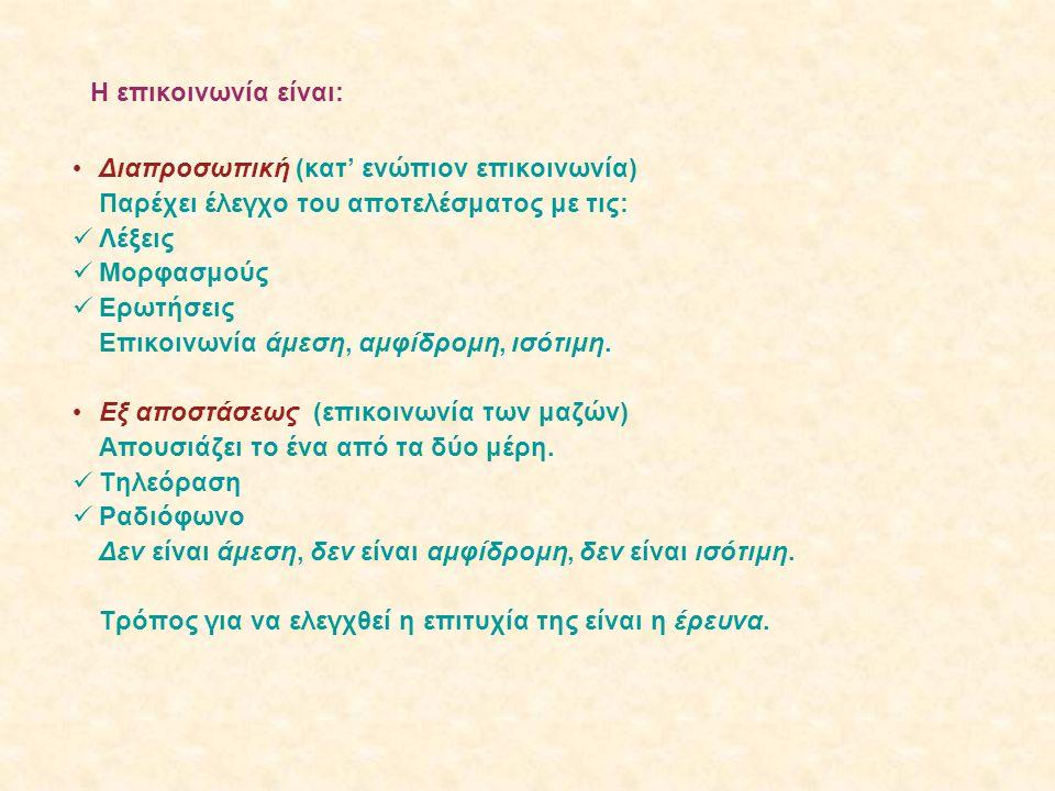 Η επικοινωνία είναι: • Διαπροσωπική (κατ' ενώπιον επικοινωνία) Παρέχει έλεγχο του αποτελέσματος με τις:  Λέξεις  Μορφασμούς  Ερωτήσεις Επικοινωνία