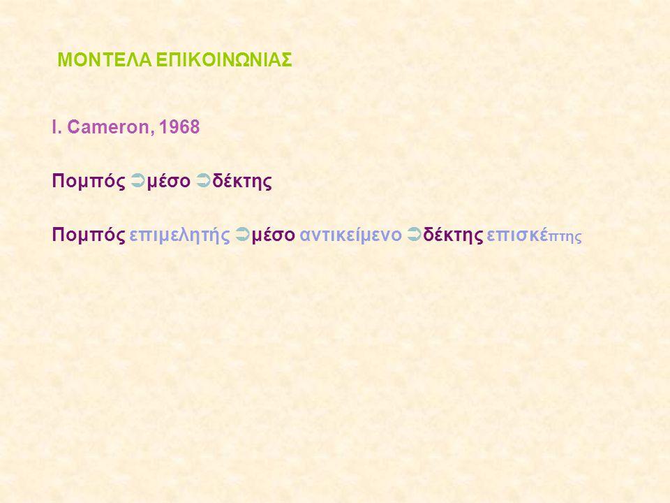 ΜΟΝΤΕΛΑ ΕΠΙΚΟΙΝΩΝΙΑΣ Ι. Cameron, 1968 Πομπός  μέσο  δέκτης Πομπός επιμελητής  μέσο αντικείμενο  δέκτης επισκέ πτης