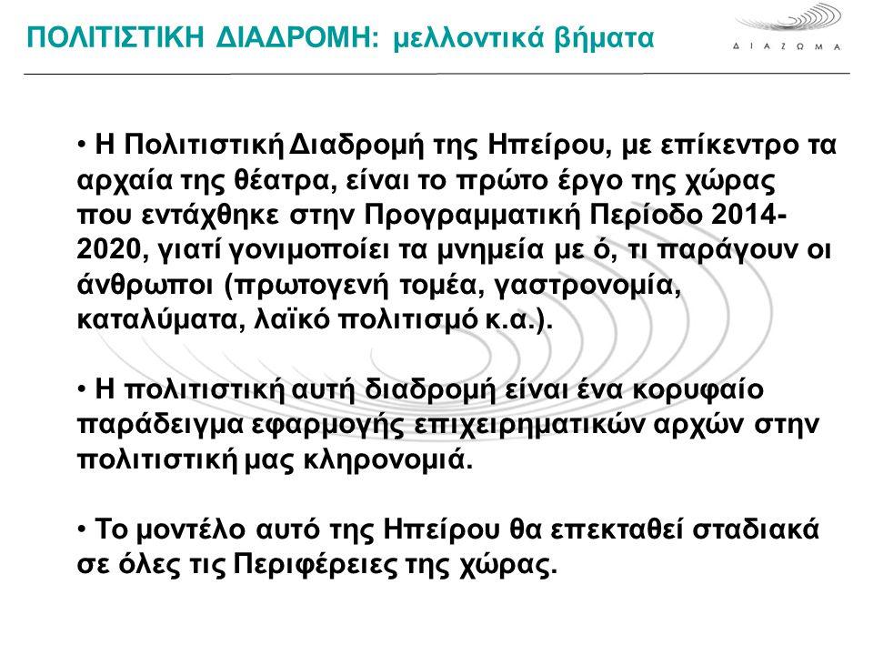 ΠΟΛΙΤΙΣΤΙΚΗ ΔΙΑΔΡΟΜΗ: μελλοντικά βήματα • Η Πολιτιστική Διαδρομή της Ηπείρου, με επίκεντρο τα αρχαία της θέατρα, είναι το πρώτο έργο της χώρας που εντάχθηκε στην Προγραμματική Περίοδο 2014- 2020, γιατί γονιμοποίει τα μνημεία με ό, τι παράγουν οι άνθρωποι (πρωτογενή τομέα, γαστρονομία, καταλύματα, λαϊκό πολιτισμό κ.α.).