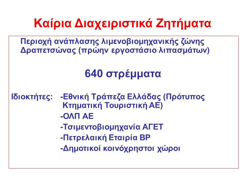 Περιοχή ανάπλασης λιμενοβιομηχανικής ζώνης Δραπετσώνας (πρώην εργοστάσιο λιπασμάτων) 640 στρέμματα Ιδιοκτήτες:-Εθνική Τράπεζα Ελλάδας (Πρότυπος Κτηματ