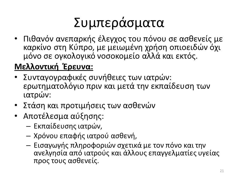Συμπεράσματα • Πιθανόν ανεπαρκής έλεγχος του πόνου σε ασθενείς με καρκίνο στη Κύπρο, με μειωμένη χρήση οπιοειδών όχι μόνο σε ογκολογικό νοσοκομείο αλλά και εκτός.
