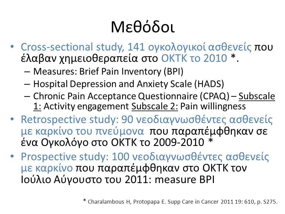 Μεθόδοι • Cross-sectional study, 141 ογκολογικοί ασθενείς που έλαβαν χημειοθεραπεία στο ΟΚΤΚ το 2010 *.