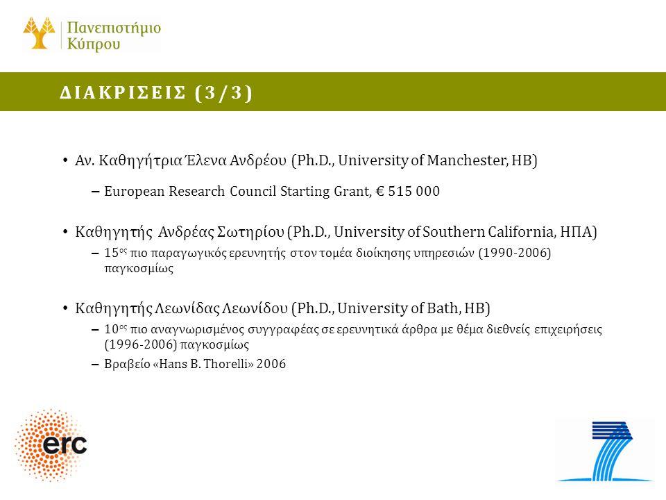 • Αν. Καθηγήτρια Έλενα Ανδρέου (Ph.D., University of Manchester, ΗΒ) – European Research Council Starting Grant, € 515 000 • Καθηγητής Ανδρέας Σωτηρίο
