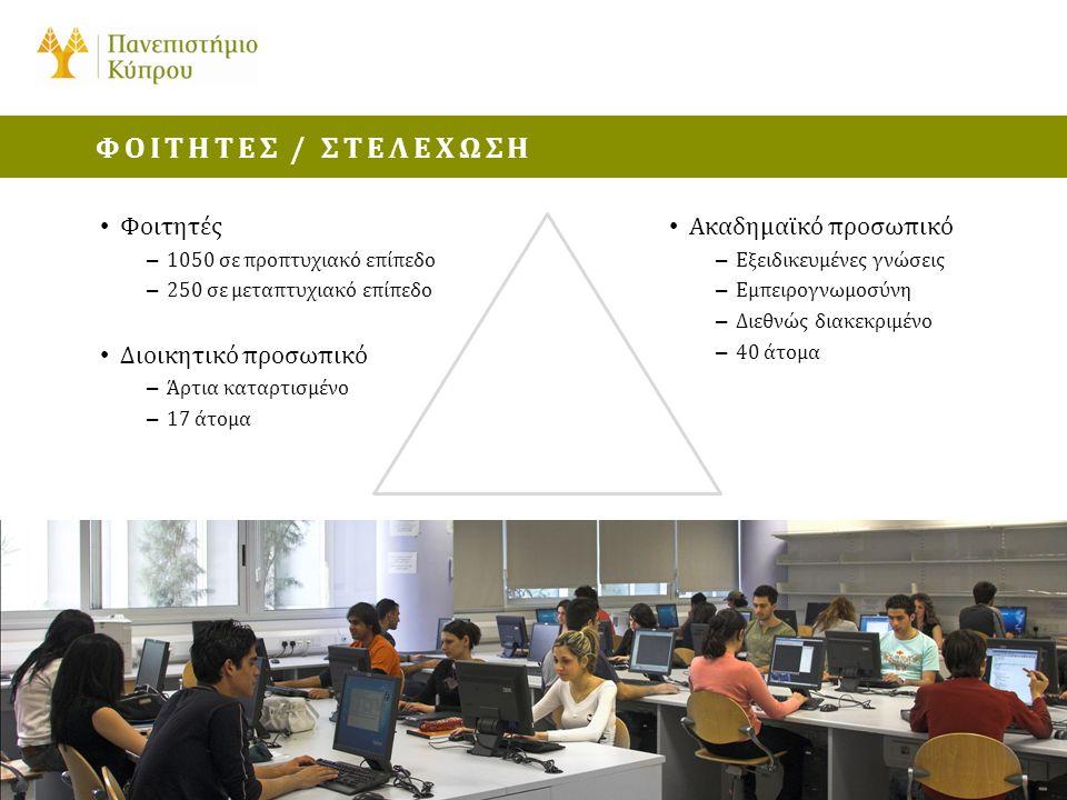 • Φοιτητές – 1050 σε προπτυχιακό επίπεδο – 250 σε μεταπτυχιακό επίπεδο • Διοικητικό προσωπικό – Άρτια καταρτισμένο – 17 άτομα ΦΟΙΤΗΤΕΣ / ΣΤΕΛΕΧΩΣΗ • Ακαδημαϊκό προσωπικό – Εξειδικευμένες γνώσεις – Εμπειρογνωμοσύνη – Διεθνώς διακεκριμένο – 40 άτομα