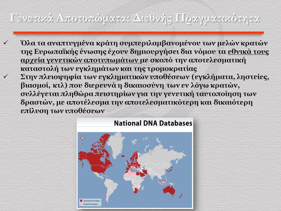 Γενετικά Αποτυπώματα: Διεθνής Πραγματικότητα  Όλα τα αναπτυγμένα κράτη συμπεριλαμβανομένου των μελών κρατών της Ευρωπαϊκής ένωσης έχουν δημιουργήσει