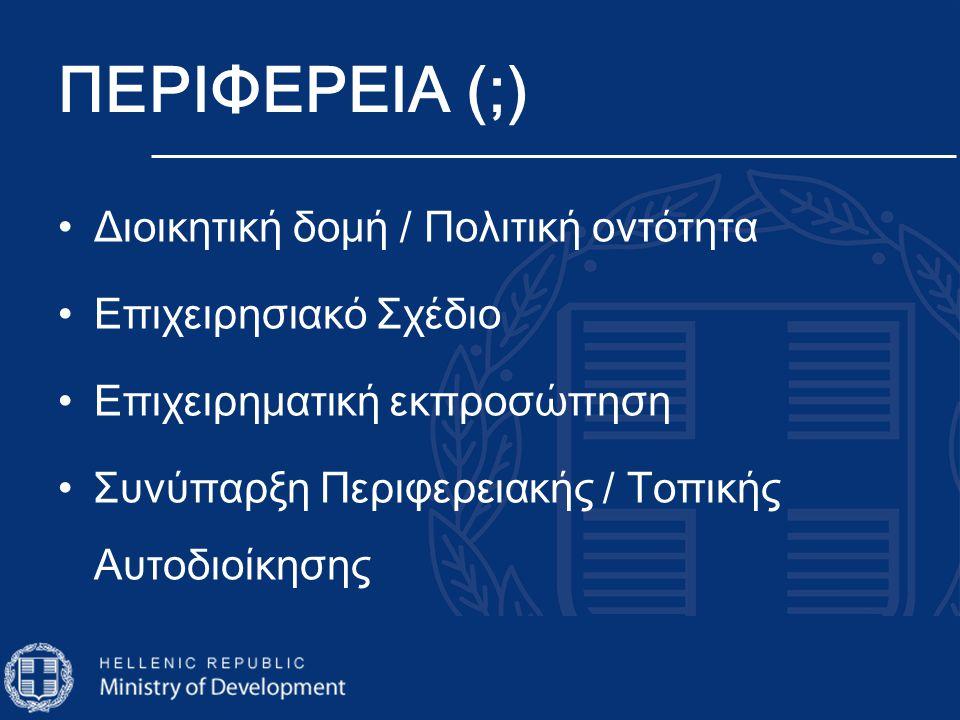 ΠΕΡΙΦΕΡΕΙΑ (;) •Διοικητική δομή / Πολιτική οντότητα •Επιχειρησιακό Σχέδιο •Επιχειρηματική εκπροσώπηση •Συνύπαρξη Περιφερειακής / Τοπικής Αυτοδιοίκησης
