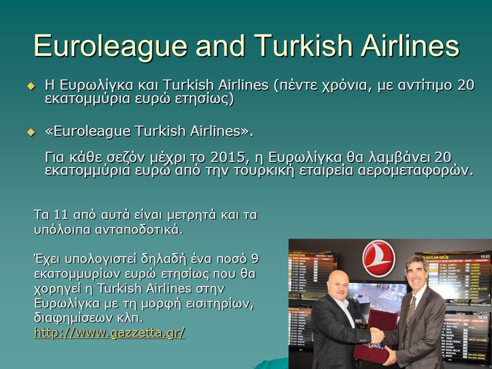 Euroleague and Turkish Airlines  Η Ευρωλίγκα και Turkish Airlines (πέντε χρόνια, με αντίτιμο 20 εκατομμύρια ευρώ ετησίως)  «Euroleague Turkish Airli
