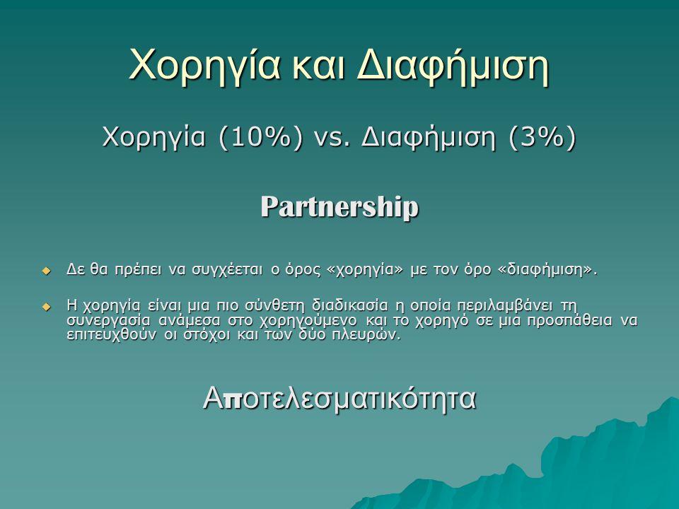 Χορηγία και Διαφήμιση Χορηγία (10%) vs. Διαφήμιση (3%) Partnership  Δε θα πρέπει να συγχέεται ο όρος «χορηγία» με τον όρο «διαφήμιση».  Η χορηγία εί