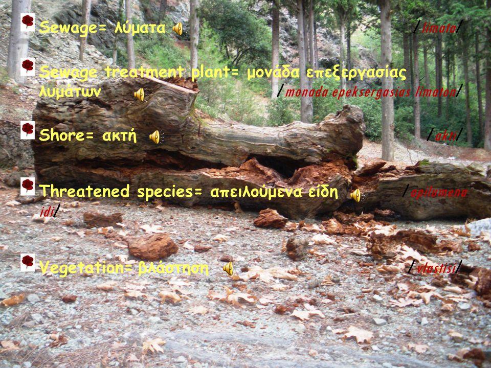 Sewage= Sewage= λύματα λύματα / limata / Sewage treatment plant= μονάδα επεξεργασίας λυμάτων λυμάτων / monada / monada epeksergasias limaton / Shore= Shore= ακτή ακτή / akti / Threatened species= απειλούμενα είδη / apilumena idi / Vegetation= Vegetation= βλάστηση / vlastisi /