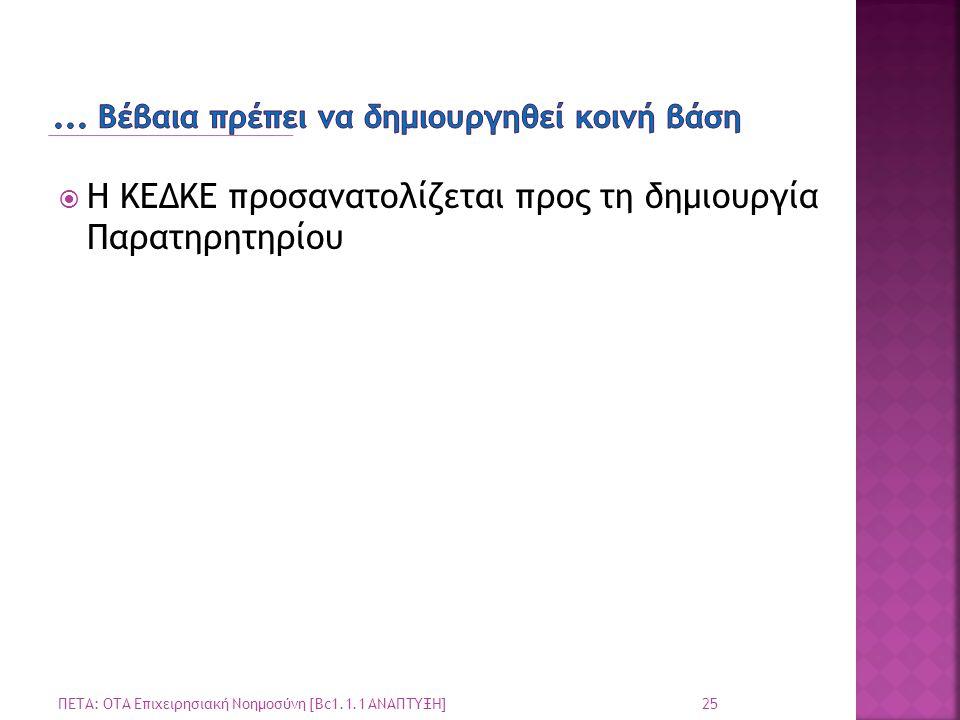  Η ΚΕΔΚΕ προσανατολίζεται προς τη δημιουργία Παρατηρητηρίου 25 ΠΕΤΑ: ΟΤΑ Επιχειρησιακή Νοημοσύνη [Bc1.1.1 ΑΝΑΠΤΥΞΗ]