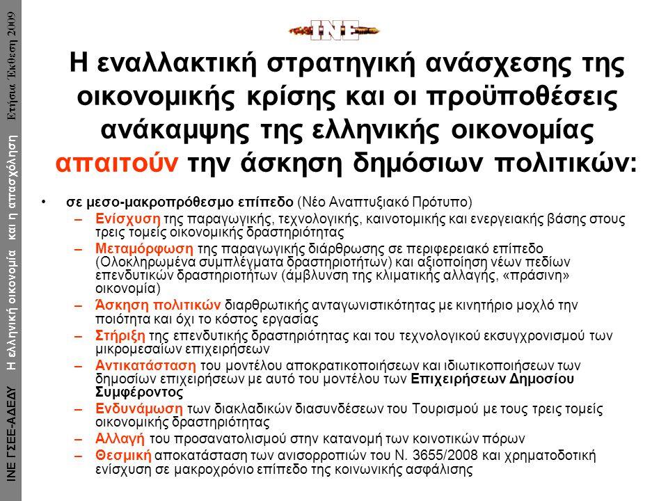 Η εναλλακτική στρατηγική ανάσχεσης της οικονομικής κρίσης και οι προϋποθέσεις ανάκαμψης της ελληνικής οικονομίας απαιτούν την άσκηση δημόσιων πολιτικών: •σε μεσο-μακροπρόθεσμο επίπεδο (Νέο Αναπτυξιακό Πρότυπο) –Ενίσχυση της παραγωγικής, τεχνολογικής, καινοτομικής και ενεργειακής βάσης στους τρεις τομείς οικονομικής δραστηριότητας –Μεταμόρφωση της παραγωγικής διάρθρωσης σε περιφερειακό επίπεδο (Ολοκληρωμένα συμπλέγματα δραστηριοτήτων) και αξιοποίηση νέων πεδίων επενδυτικών δραστηριοτήτων (άμβλυνση της κλιματικής αλλαγής, «πράσινη» οικονομία) –Άσκηση πολιτικών διαρθρωτικής ανταγωνιστικότητας με κινητήριο μοχλό την ποιότητα και όχι το κόστος εργασίας –Στήριξη της επενδυτικής δραστηριότητας και του τεχνολογικού εκσυγχρονισμού των μικρομεσαίων επιχειρήσεων –Αντικατάσταση του μοντέλου αποκρατικοποιήσεων και ιδιωτικοποιήσεων των δημοσίων επιχειρήσεων με αυτό του μοντέλου των Επιχειρήσεων Δημοσίου Συμφέροντος –Ενδυνάμωση των διακλαδικών διασυνδέσεων του Τουρισμού με τους τρεις τομείς οικονομικής δραστηριότητας –Αλλαγή του προσανατολισμού στην κατανομή των κοινοτικών πόρων –Θεσμική αποκατάσταση των ανισορροπιών του Ν.