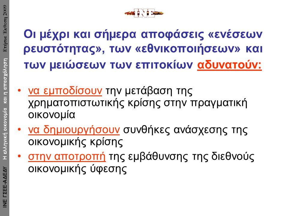 Οι μέχρι και σήμερα αποφάσεις «ενέσεων ρευστότητας», των «εθνικοποιήσεων» και των μειώσεων των επιτοκίων αδυνατούν: •να εμποδίσουν την μετάβαση της χρηματοπιστωτικής κρίσης στην πραγματική οικονομία •να δημιουργήσουν συνθήκες ανάσχεσης της οικονομικής κρίσης •στην αποτροπή της εμβάθυνσης της διεθνούς οικονομικής ύφεσης ΙΝΕ ΓΣΕΕ-ΑΔΕΔΥ Η ελληνική οικονομία και η απασχόληση Ετήσια Έκθεση 2009