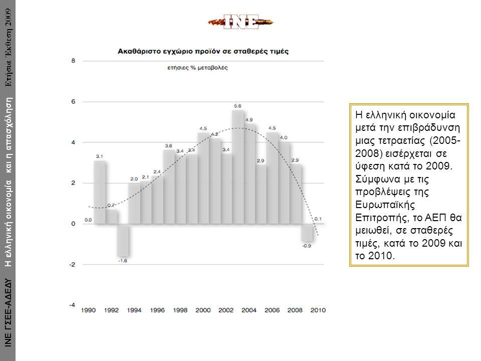 Η ελληνική οικονομία μετά την επιβράδυνση μιας τετραετίας (2005- 2008) εισέρχεται σε ύφεση κατά το 2009. Σύμφωνα με τις προβλέψεις της Ευρωπαϊκής Επιτ