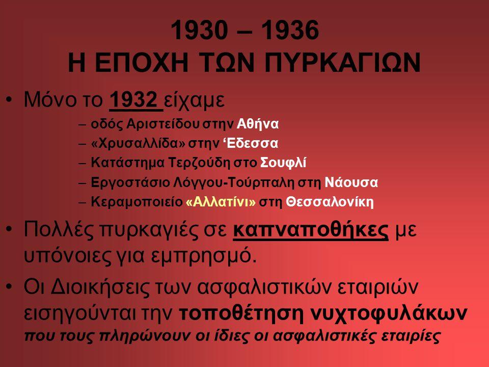 1930 – 1936 Η ΕΠΟΧΗ ΤΩΝ ΠΥΡΚΑΓΙΩΝ •Μόνο το 1932 είχαμε –οδός Αριστείδου στην Αθήνα –«Χρυσαλλίδα» στην 'Εδεσσα –Κατάστημα Τερζούδη στο Σουφλί –Εργοστάσιο Λόγγου-Τούρπαλη στη Νάουσα –Κεραμοποιείο «Αλλατίνι» στη Θεσσαλονίκη •Πολλές πυρκαγιές σε καπναποθήκες με υπόνοιες για εμπρησμό.